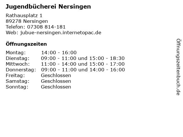 Jugendbücherei Nersingen in Nersingen: Adresse und Öffnungszeiten