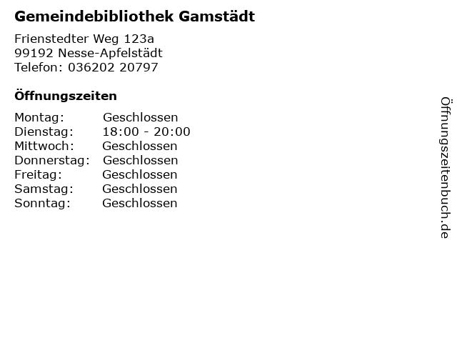 Gemeindebibliothek Gamstädt in Nesse-Apfelstädt: Adresse und Öffnungszeiten