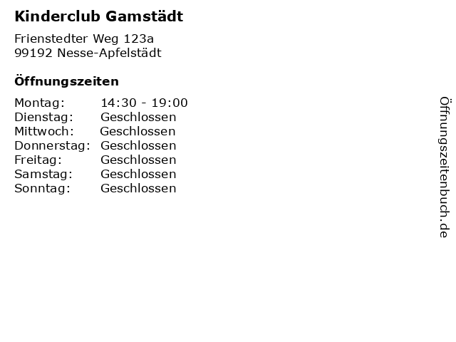 Kinderclub Gamstädt in Nesse-Apfelstädt: Adresse und Öffnungszeiten
