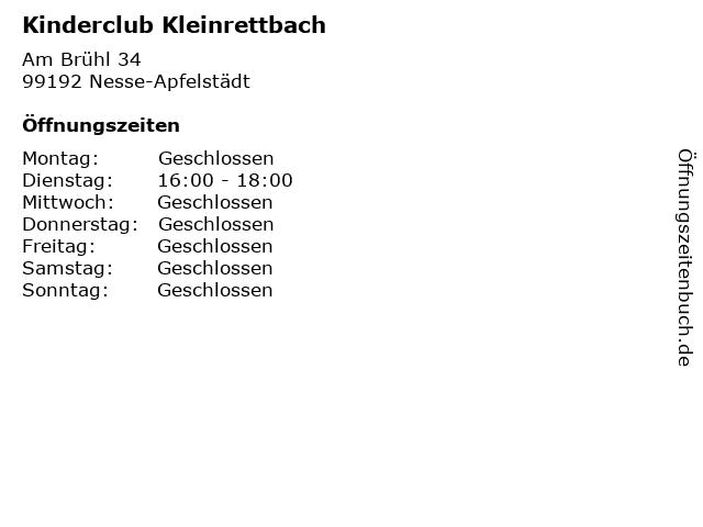 Kinderclub Kleinrettbach in Nesse-Apfelstädt: Adresse und Öffnungszeiten