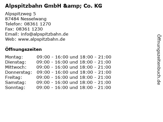 Alpspitzbahn GmbH & Co. KG in Nesselwang: Adresse und Öffnungszeiten