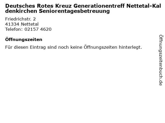 Deutsches Rotes Kreuz Generationentreff Nettetal-Kaldenkirchen Seniorentagesbetreuung in Nettetal: Adresse und Öffnungszeiten