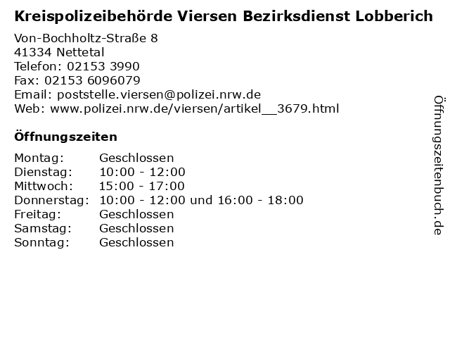 Kreispolizeibehörde Viersen Bezirksdienst Lobberich in Nettetal: Adresse und Öffnungszeiten