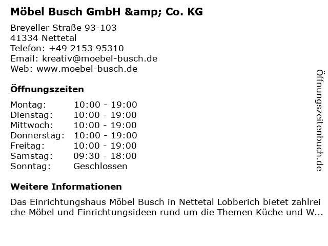 ᐅ öffnungszeiten Möbel Busch Zentrallager Breyeller Str 93