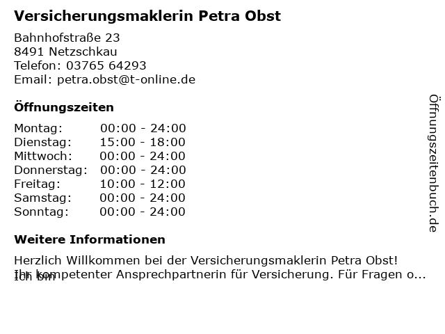 Versicherungsmaklerin Petra Obst in Netzschkau: Adresse und Öffnungszeiten