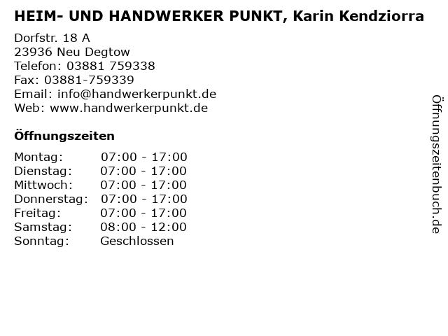 HEIM- UND HANDWERKER PUNKT, Karin Kendziorra in Neu Degtow: Adresse und Öffnungszeiten