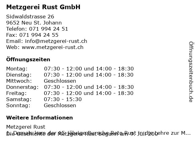 Metzgerei Rust GmbH in Neu St. Johann: Adresse und Öffnungszeiten