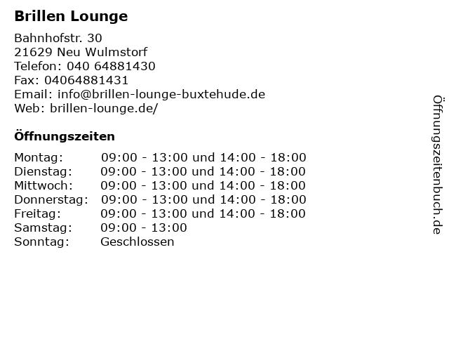 Brillen Lounge in Neu Wulmstorf: Adresse und Öffnungszeiten