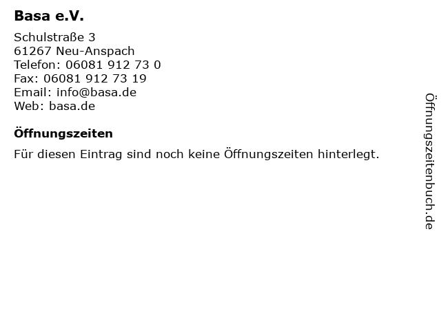 Basa e.V. in Neu-Anspach: Adresse und Öffnungszeiten