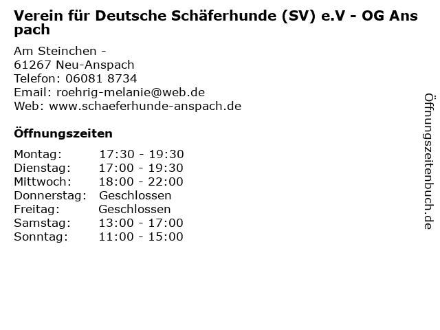 Verein für Deutsche Schäferhunde (SV) e.V - OG Anspach in Neu-Anspach: Adresse und Öffnungszeiten