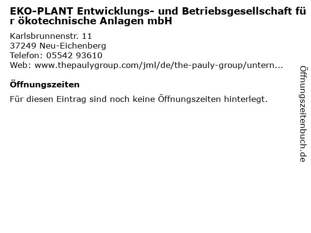 EKO-PLANT Entwicklungs- und Betriebsgesellschaft für ökotechnische Anlagen mbH in Neu-Eichenberg: Adresse und Öffnungszeiten