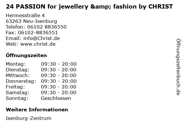 24 PASSION for jewellery & fashion by CHRIST in Neu-Isenburg: Adresse und Öffnungszeiten