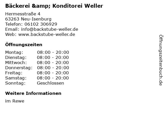 Bäckerei & Konditorei Weller KG in Neu-Isenburg: Adresse und Öffnungszeiten