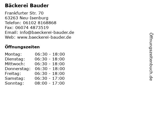 Bäckerei Bauder in Neu-Isenburg: Adresse und Öffnungszeiten