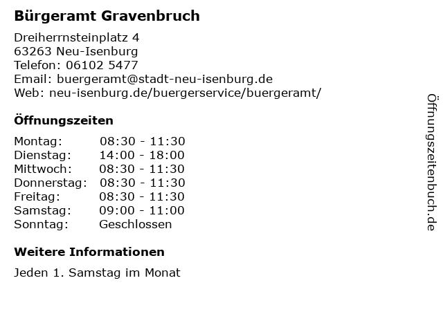 Bürgeramt Gravenbruch in Neu-Isenburg: Adresse und Öffnungszeiten