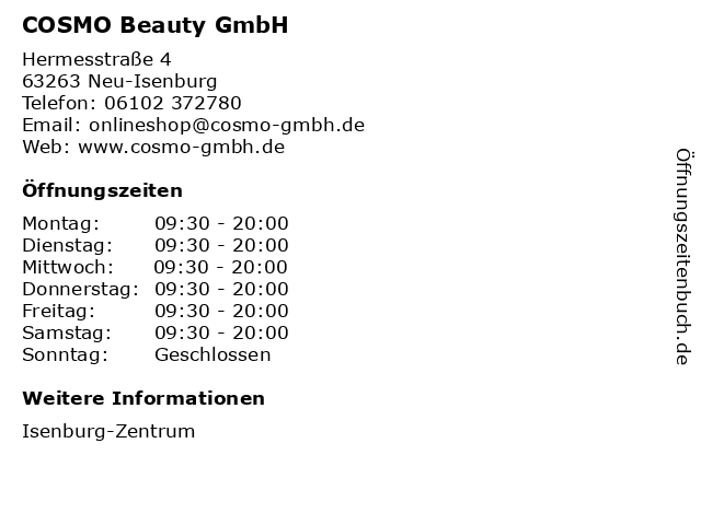 COSMO Beauty GmbH in Neu-Isenburg: Adresse und Öffnungszeiten