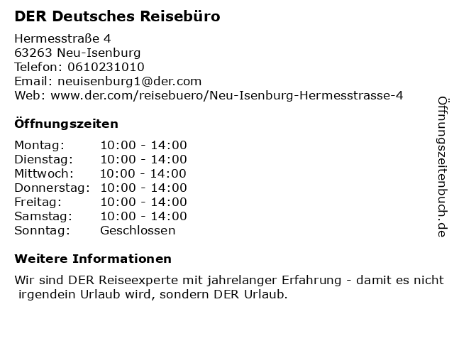 DER Deutsches Reisebüro in Neu-Isenburg: Adresse und Öffnungszeiten