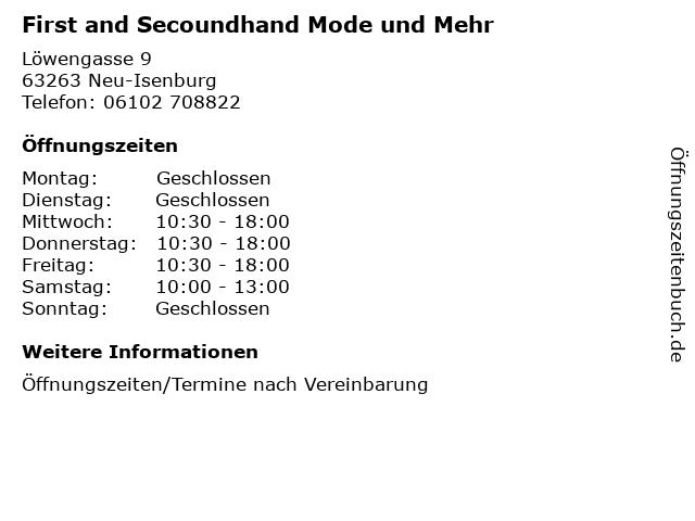 First and Secoundhand Mode und Mehr in Neu-Isenburg: Adresse und Öffnungszeiten