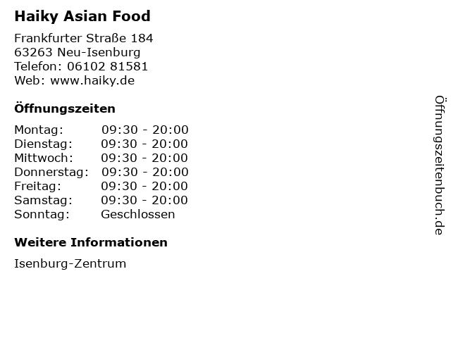 Haiky Asian Food in Neu-Isenburg: Adresse und Öffnungszeiten
