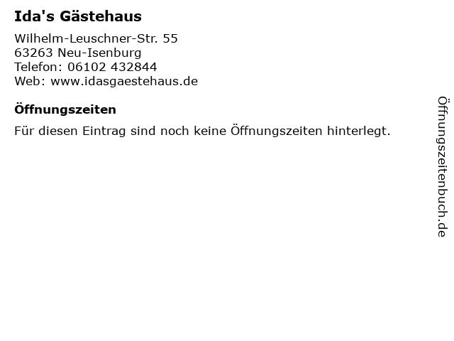 Ida's Gästehaus in Neu-Isenburg: Adresse und Öffnungszeiten