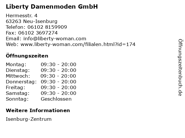 Liberty Damenmoden GmbH in Neu-Isenburg: Adresse und Öffnungszeiten