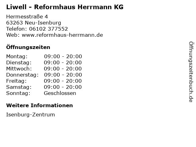 Liwell - Reformhaus Herrmann KG in Neu-Isenburg: Adresse und Öffnungszeiten