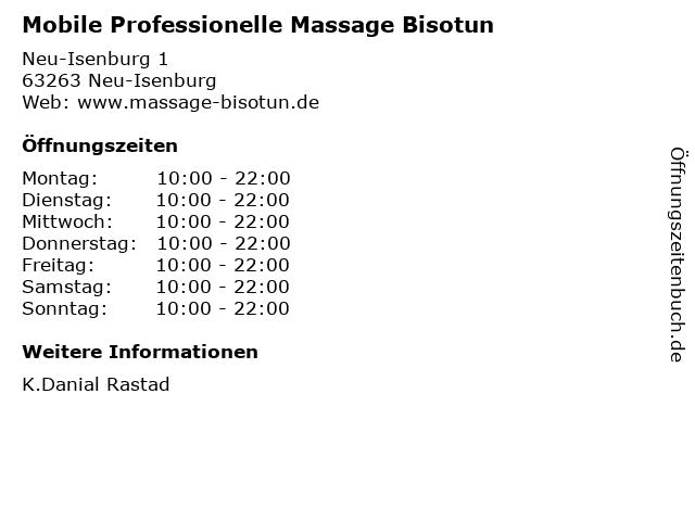 Mobile Professionelle Massage Bisotun in Neu-Isenburg: Adresse und Öffnungszeiten