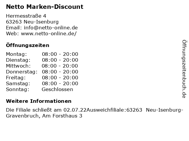 Netto Marken-Discount in Neu-Isenburg: Adresse und Öffnungszeiten