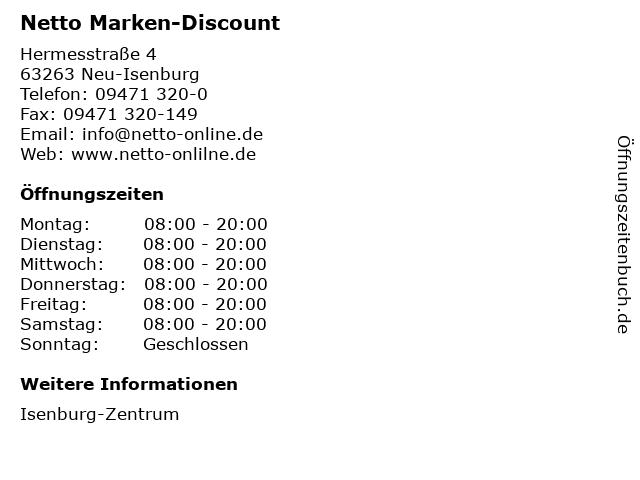 Netto Marken-Discount AG & Co. KG in Neu-Isenburg: Adresse und Öffnungszeiten
