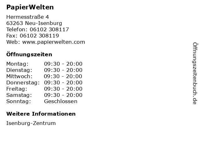 PapierWelten in Neu-Isenburg: Adresse und Öffnungszeiten