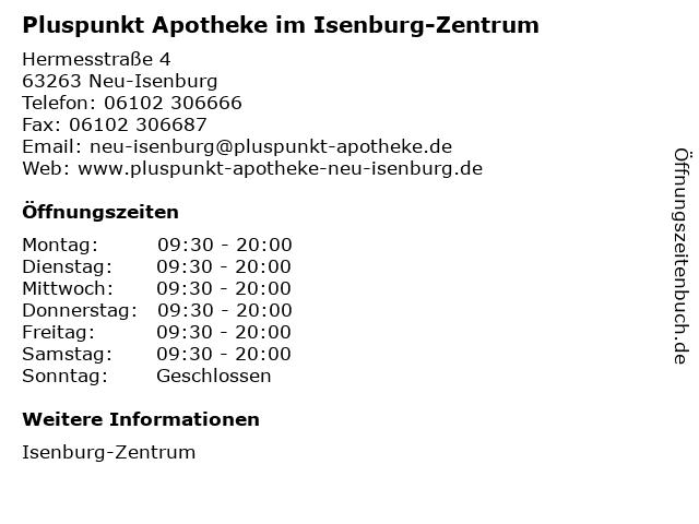 Pluspunkt Apotheke im Isenburg-Zentrum in Neu-Isenburg: Adresse und Öffnungszeiten