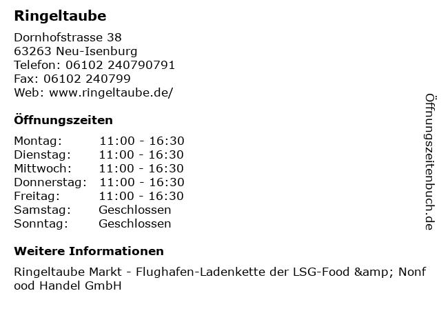Ringeltaube in Neu-Isenburg: Adresse und Öffnungszeiten