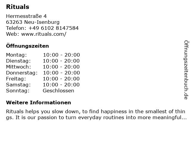 Rituals Cosmetics Germany GmbH in Neu-Isenburg: Adresse und Öffnungszeiten
