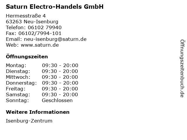 Saturn Electro-Handels GmbH in Neu-Isenburg: Adresse und Öffnungszeiten