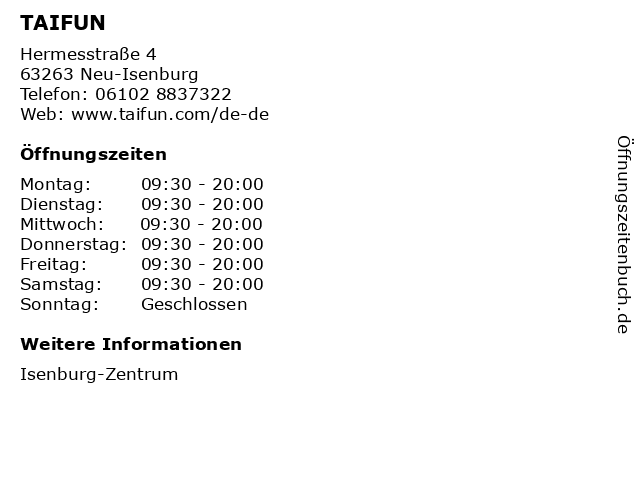 TAIFUN in Neu-Isenburg: Adresse und Öffnungszeiten