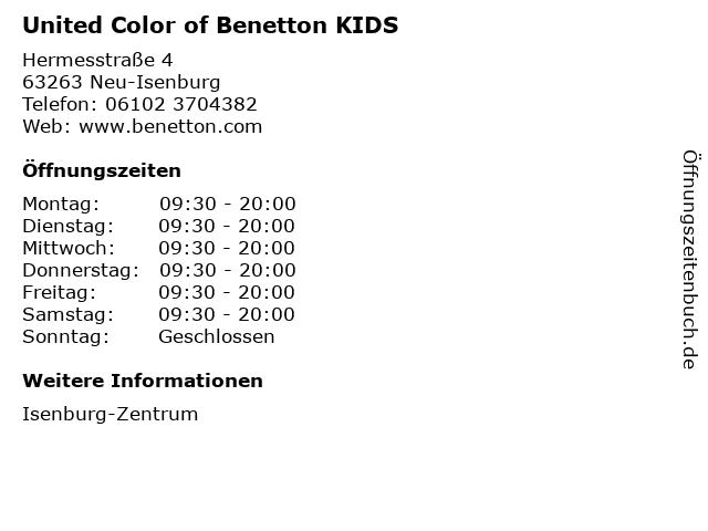 United Color of Benetton KIDS in Neu-Isenburg: Adresse und Öffnungszeiten