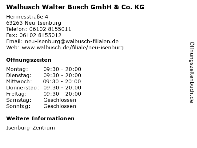 Walbusch Walter Busch GmbH & Co. KG in Neu-Isenburg: Adresse und Öffnungszeiten
