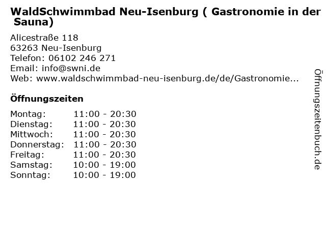 WaldSchwimmbad Neu-Isenburg ( Gastronomie in der Sauna) in Neu-Isenburg: Adresse und Öffnungszeiten
