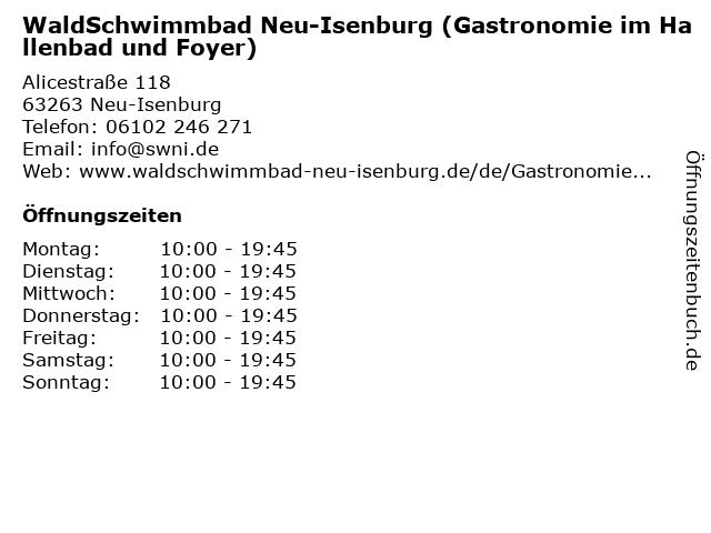 WaldSchwimmbad Neu-Isenburg (Gastronomie im Hallenbad und Foyer) in Neu-Isenburg: Adresse und Öffnungszeiten