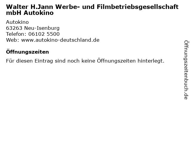 Walter H.Jann Werbe- und Filmbetriebsgesellschaft mbH Autokino in Neu-Isenburg: Adresse und Öffnungszeiten
