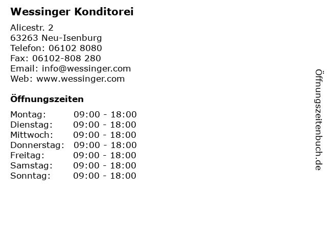 Wessinger Konditorei in Neu-Isenburg: Adresse und Öffnungszeiten
