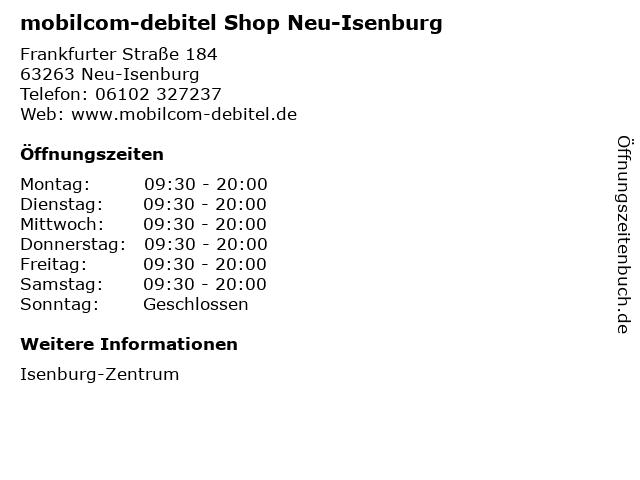 mobilcom-debitel Shop Neu-Isenburg in Neu-Isenburg: Adresse und Öffnungszeiten