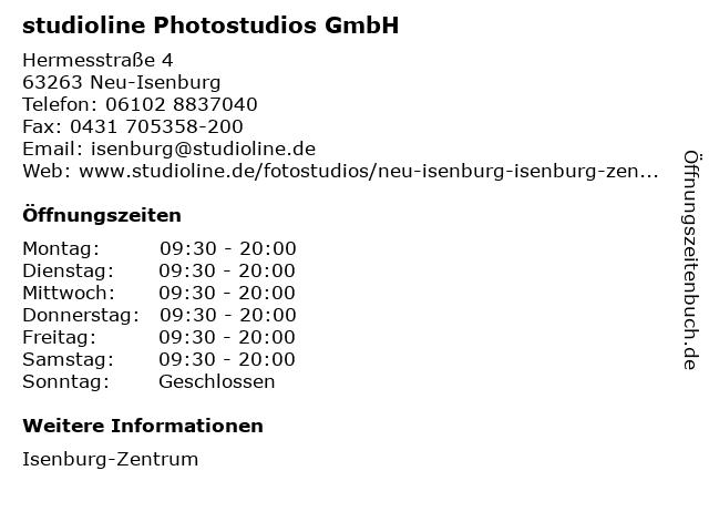 studioline Photostudios GmbH in Neu-Isenburg: Adresse und Öffnungszeiten