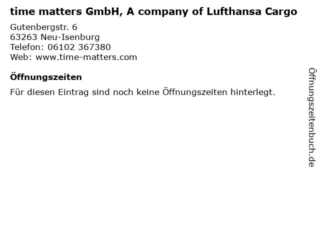 time matters GmbH, A company of Lufthansa Cargo in Neu-Isenburg: Adresse und Öffnungszeiten