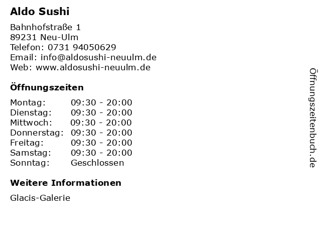 Aldo Sushi in Neu-Ulm: Adresse und Öffnungszeiten