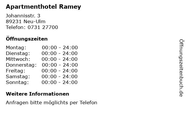 Apartmenthotel Ramey in Neu-Ulm: Adresse und Öffnungszeiten