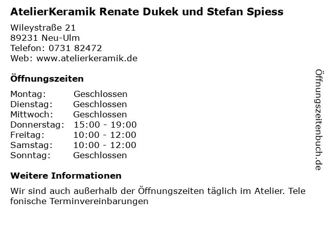 AtelierKeramik Renate Dukek und Stefan Spiess in Neu-Ulm: Adresse und Öffnungszeiten