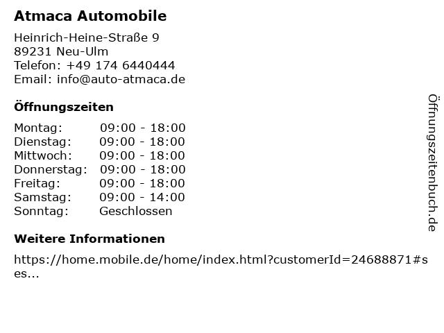 Atmaca Automobile in Neu-Ulm: Adresse und Öffnungszeiten