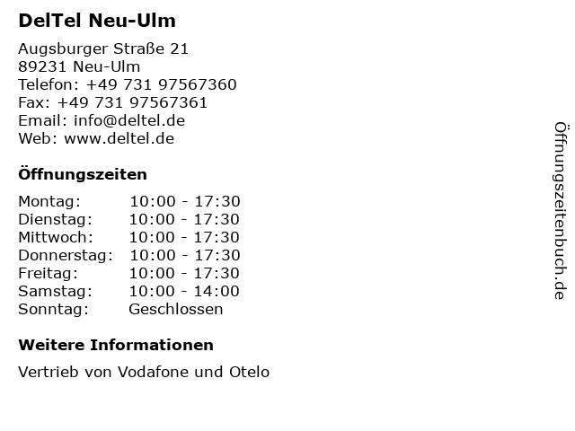 DelTel Neu-Ulm in Neu-Ulm: Adresse und Öffnungszeiten