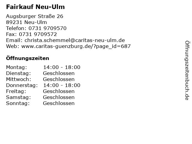 Fairkauf Neu-Ulm in Neu-Ulm: Adresse und Öffnungszeiten